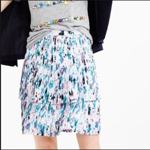 J Crew Two-tier pleated skirt in watercolor floral